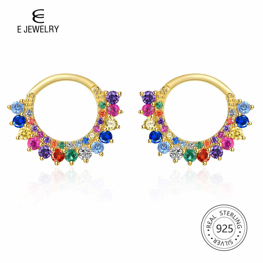 E 14K Gold Plated Small Hoop Earrings Sterling Silver 925 Rainbow Colorful Gemstone Circle Earings CZ  Women's Fashion Jewelry
