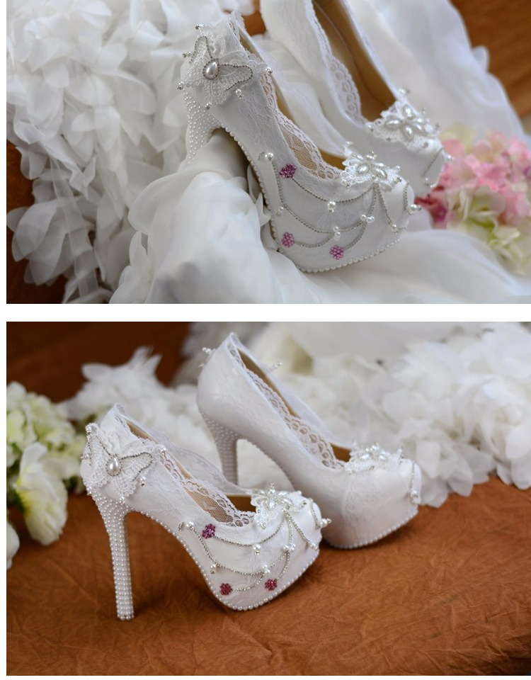 Dulce Blanco Zapatos F51 Mary Rhinestone Bombas Perlas Janes Mujeres Nupcial Boda Corazón OEwFqfx