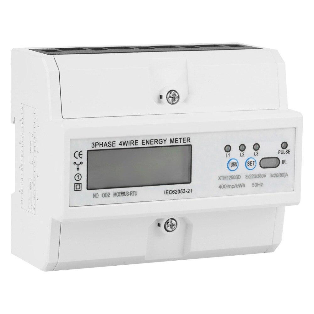 Compteur d'énergie 3 phases Din-rail compteur d'énergie 3x220 V/380 V 20 (80) un compteur électrique numérique 4 fils 7 P DIN-Rail compteur électrique électronique KWh