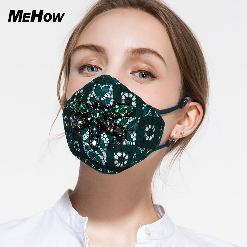 MeHow Anti-pollution Mouth Mask Lace Dragonfly Pattern Face Respirator Anti-fog Haze Pollution Bacteria Pollen pm2.5 Kpop Mask 50pcs high quality dust fog haze oversized breathing valve loop tape anti dust face surgical masks
