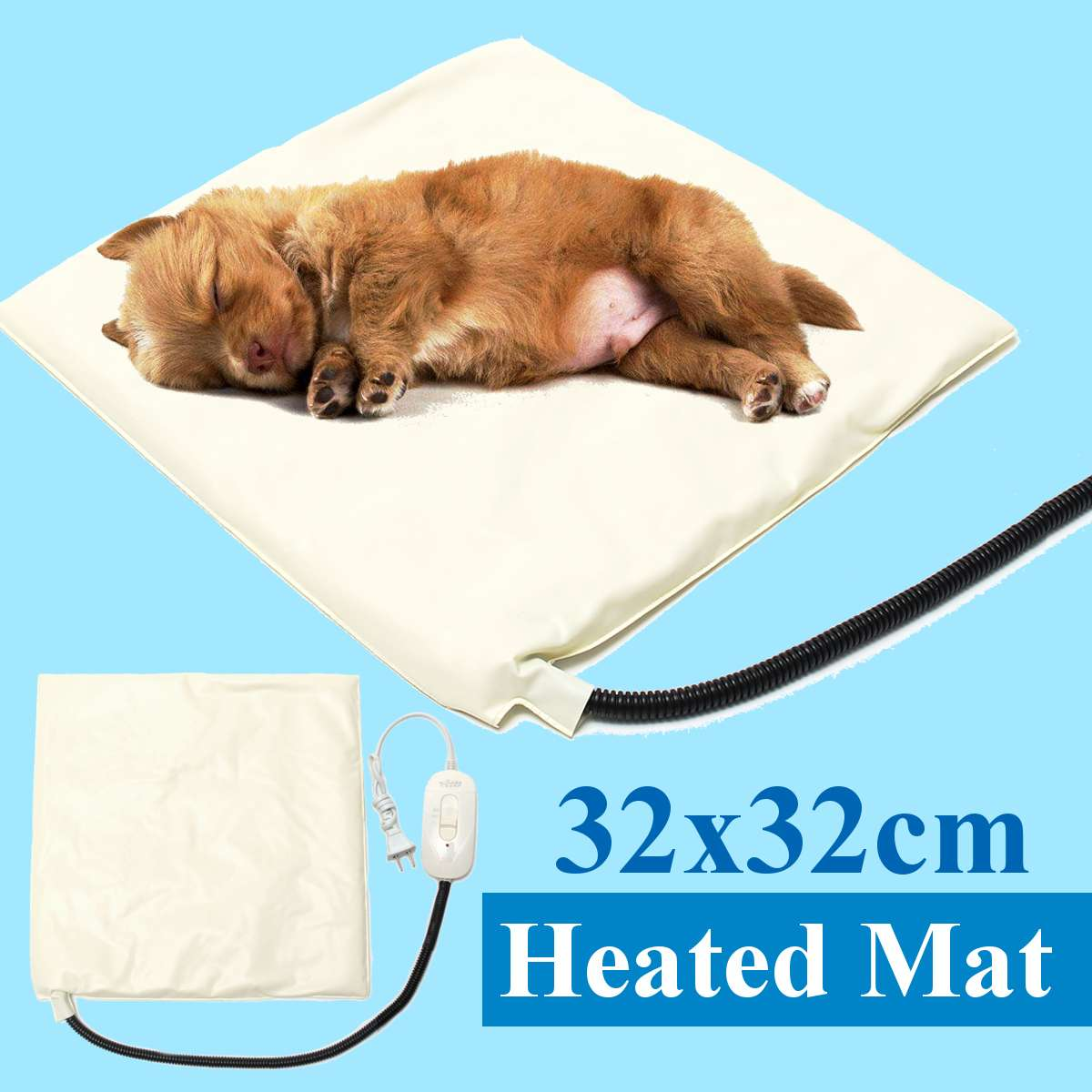 220V Pet Electric Heating Pad Blanket Warm For Dog Cat Adjustable Waterproof Heated Mat Anti Scratch Sleeping Bed Winter