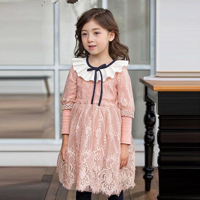 Príncipe de encaje floral vestido de las muchachas del otoño niños ...