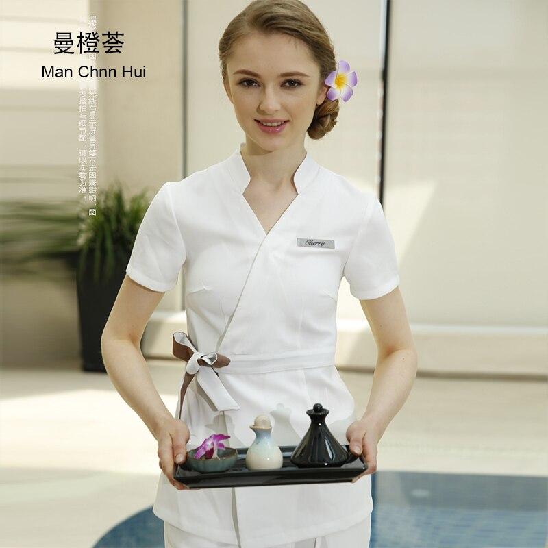 SPA vêtements de travail 2 pièces ensembles printemps/été Beige Massage travail uniforme ensembles femme hôpital infirmière uniformes en gros beauté vêtements