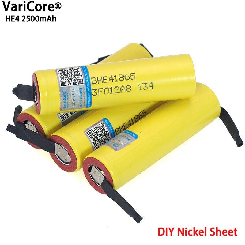 New Original HE4 2500 mAh Li-lon Bateria 18650 baterias Recarregáveis de 3.7 V Potência Máxima 20A, 35A descarga + folha de Níquel