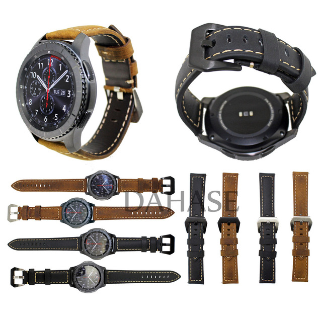 40ab620d146 22mm Genuine Leather Watch Band for Samsung Gear S3 Frontier Classic Strap  for Samsung Galaxy Watch 46mm with Release Pins
