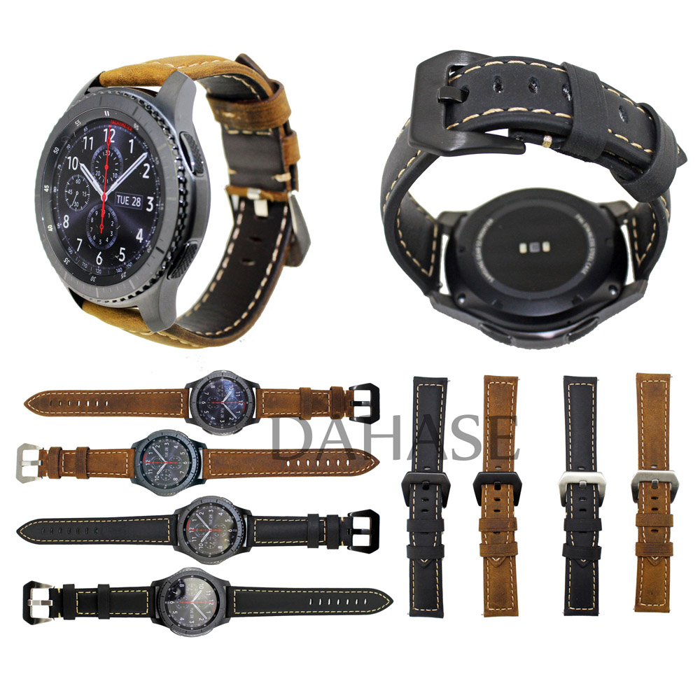 Prix pour Brun Noir Bande de Cuir Véritable pour Samsung Gear S3 Frontière Sangle pour Samsung Gear S3 Classique Smart Watch Bande w Goupilles de Dégagement