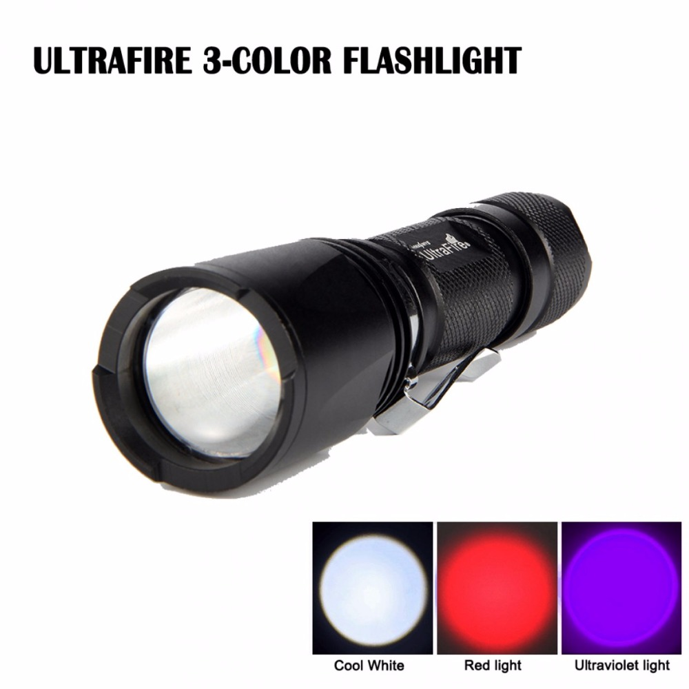 Ultrafire UF-V3  Three-color  white / UV / red light switch Flashlight Hunting Torch