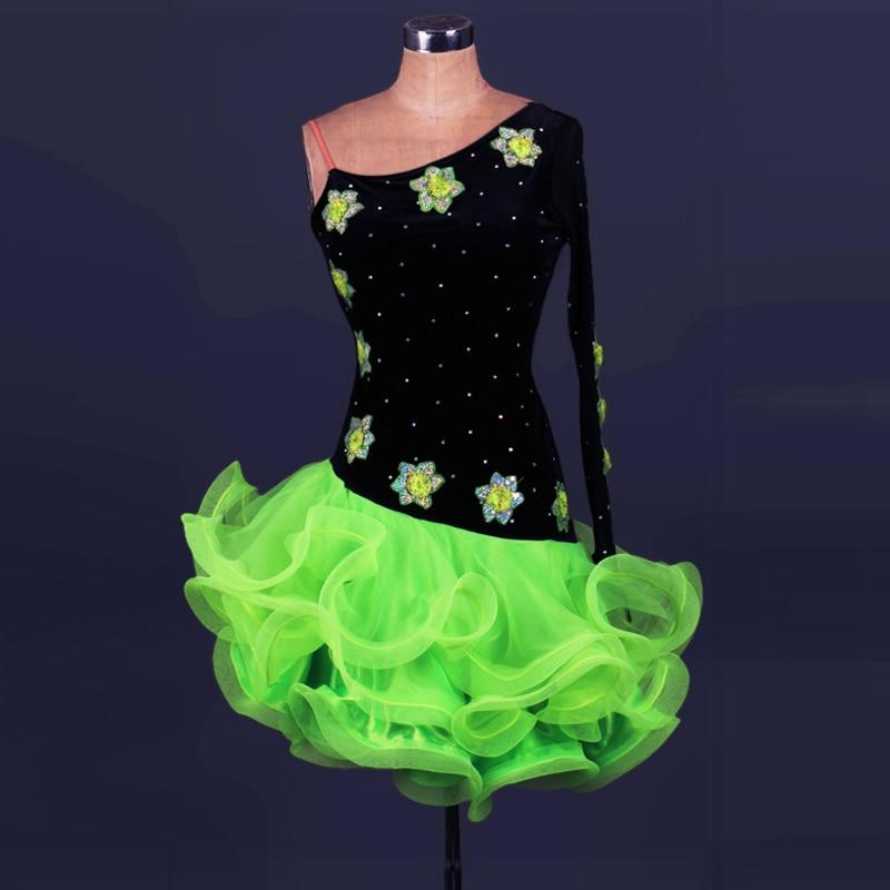 Quality diamond Embroidery Latin dance competition dress velvet rhinestone one-piece samba/tango costumes adult performance wear