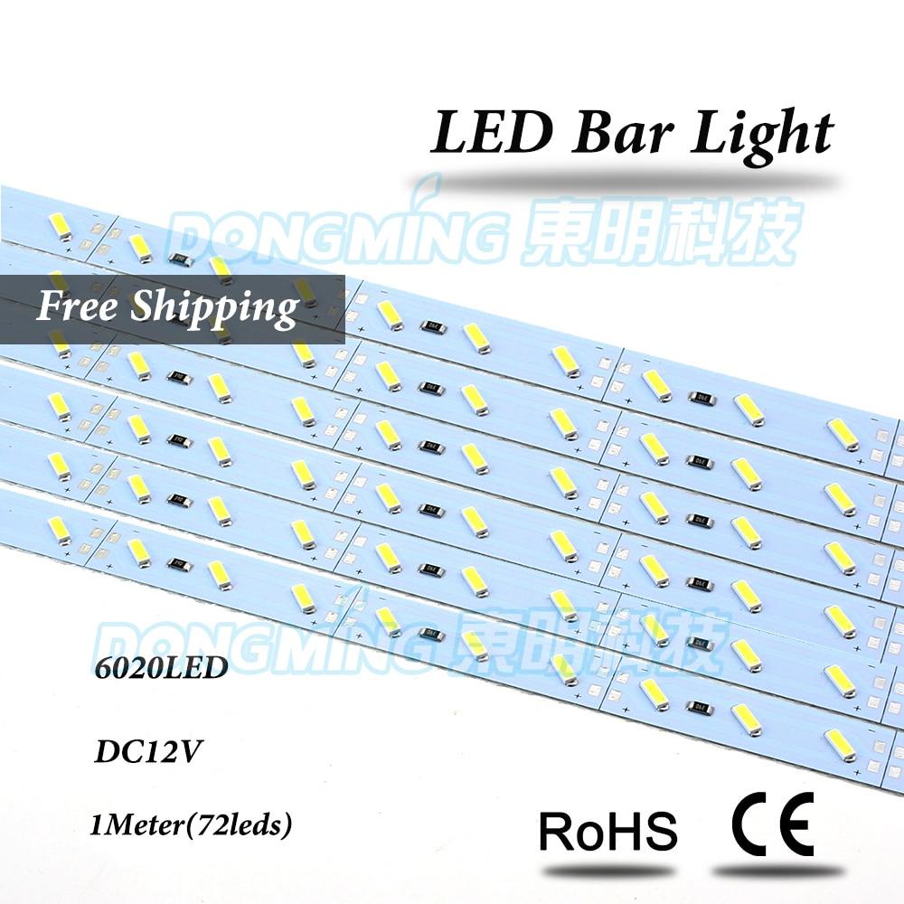 100 unids/lote 72Leds 1m tira de luces LED 6020 SMD IP22 DC 12V frío/blanco cálido led barra de luz cocina luz LED para debajo de gabinete Tira de LED SMD 2835 60led ip22 12v murió