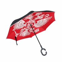 Drop Shipping Windproof Double Layer Reverse Umbrella Russia Flag Printed Cars Long C Handle Women Rain Inverted Umbrella
