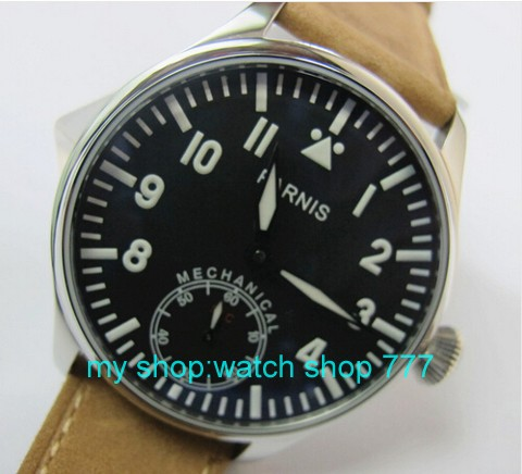2016 new fashion 44mm PARNIS pilot blue dial 6497 Mechanical Hand Wind movement High quality men