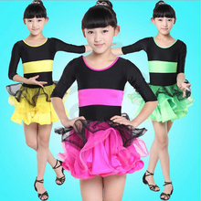 Children Latin dance dress stage show perform costumes girls practical clothes practicing ballroom dancing tutu stretch skirt