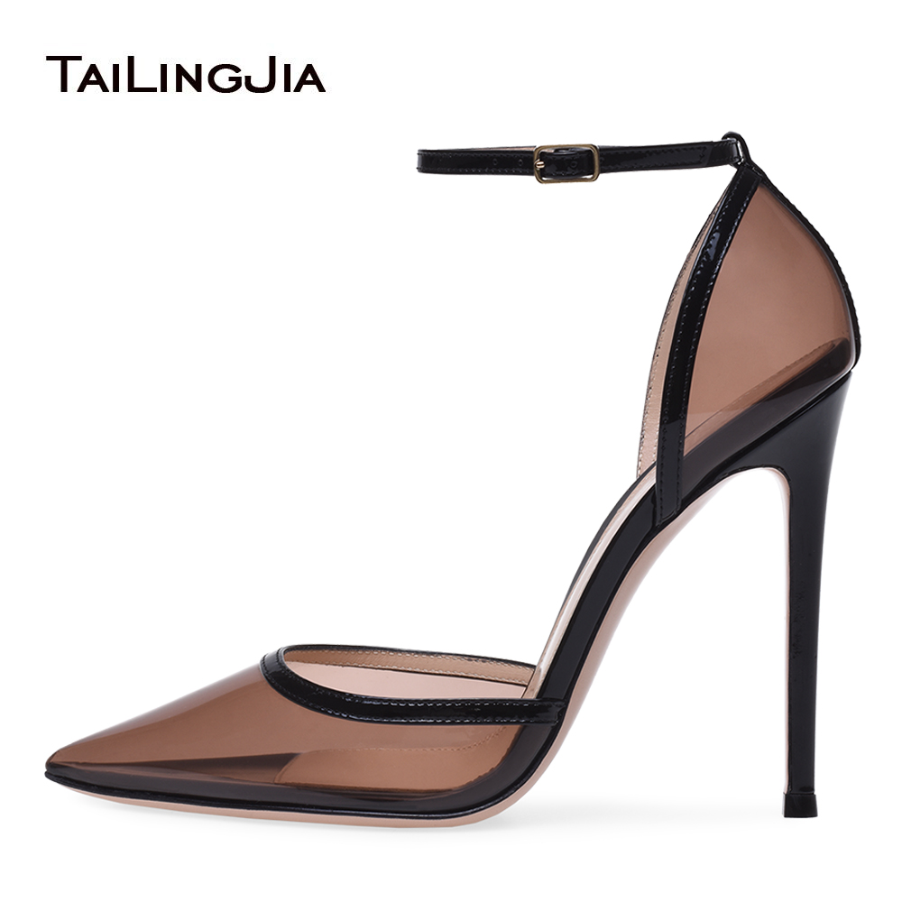 Pointed Toe High Heel Pumps Women Black Transparent Sexy Heeled Evening Dress Shoes Ladies Summer Clear Heels Large Size 2018