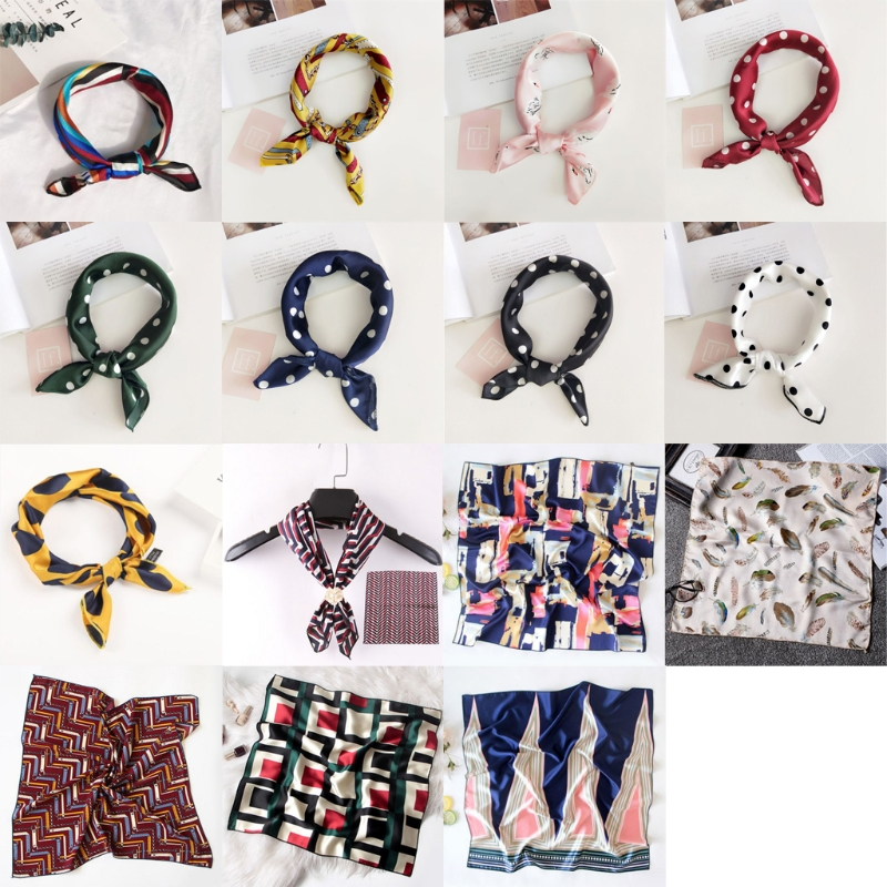 2018 New Women Ladies Vintage Silk Feel Satin Square Scarf Head Neck Hair Tie Band 50x50 Drop Shipping Support