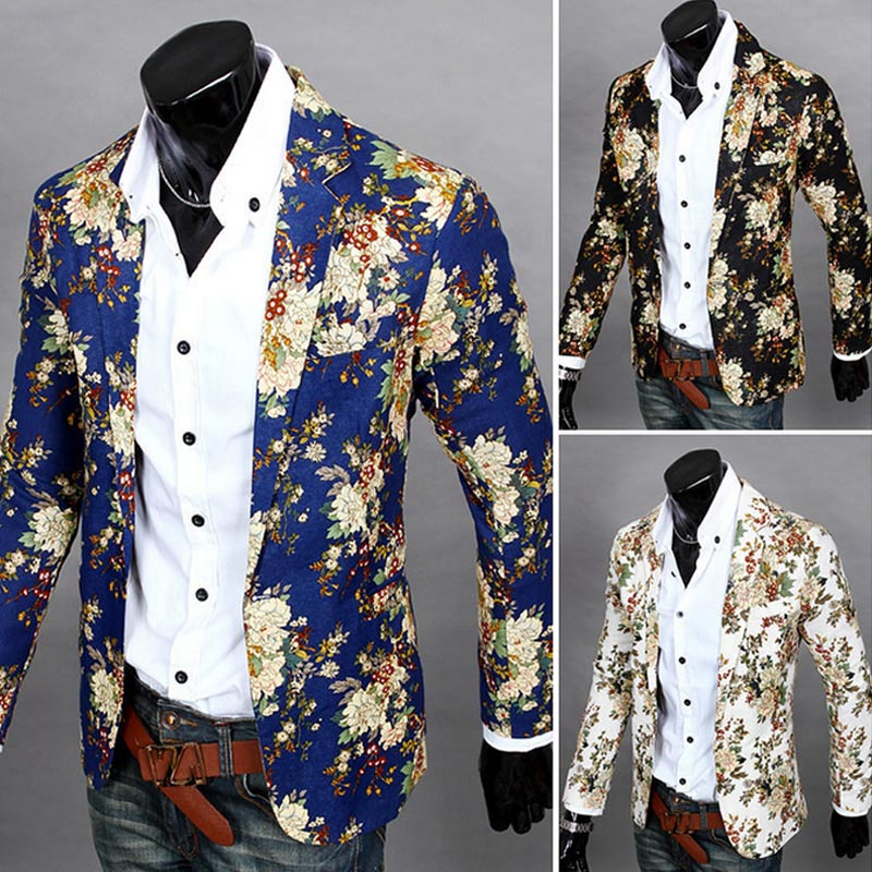 Nice Fashion Men Floral Printing Blazer Slim Party Single Breasted Suit Jacket Long Sleeve Coat H8