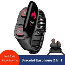 Newset M1 2 in 1 Smart Watch With Wireless Bluetooth Earphone Heart Rate Monitor Smart Wristband Sport Headset for Men Bracelet