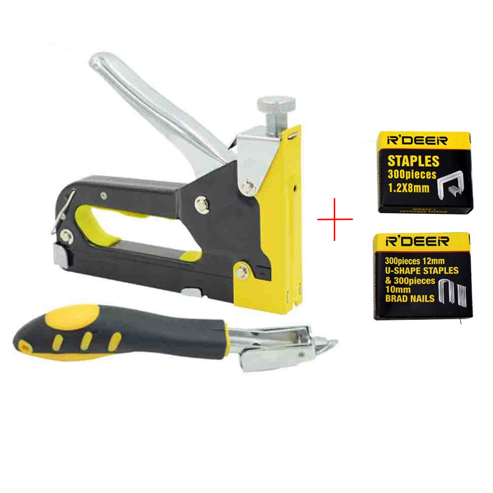 Nail Gun Tacker & Remover Set Three With Heavy Duty Rapid Upholstery Hand Staple Nail Tacker Stapler Gun Set Power Tools 2017 one piece deli 0394 heavy duty stapler 80 sheets