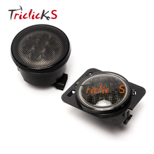 Triclicks Amber LED Lamp DRL Headlight Front Grill Fender Flares Side Light Marker Turn Signal Lights For Jeep Wrangler 07-2016 2 x 27w car led rearview side replacement led off road mirror turn signal lights white amber beam for jeep wrangler 07 16
