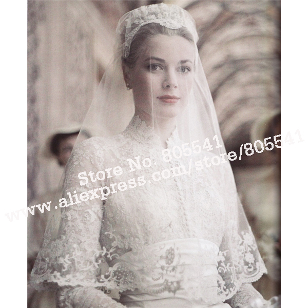 Free Shipping Lace Tulle Vintage Wedding Veil Bv 118