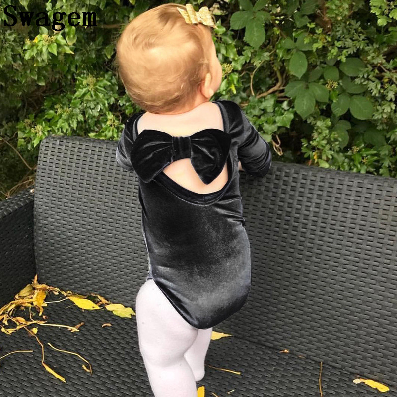 4963ddbccf0 Lucky Child Bodie Suit Infant Girls Velvet Dancing Jumpsuit Autumn Long  Sleeve Big Bow Bodysuit Baby Girls Clothes D0529 Tags