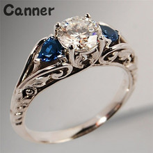 Canner Luxury Round White Blue Stone CZ Engagement Rings Fashion Silver AAAAA Zircon Wedding Ring For Women Jewelry