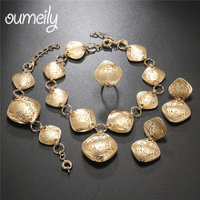 OUMEILY African Jewelry Set Dubai Gold Color Jewelry Sets For Women Wedding Jewellery Set India Big Bridal Costume Jewelery(China)