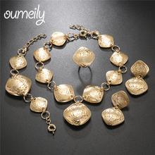 OUMEILY afryki zestaw biżuterii Dubai złoty kolor zestawy biżuterii dla kobiet zestaw biżuterii ślubnej indii duży kostium dla nowożeńców biżuteria tanie tanio Moda Klasyczny Geometryczne Naszyjnik kolczyki pierścień bransoletka African Beads Jewelry Set Ślub Ze stopu cynku Metal