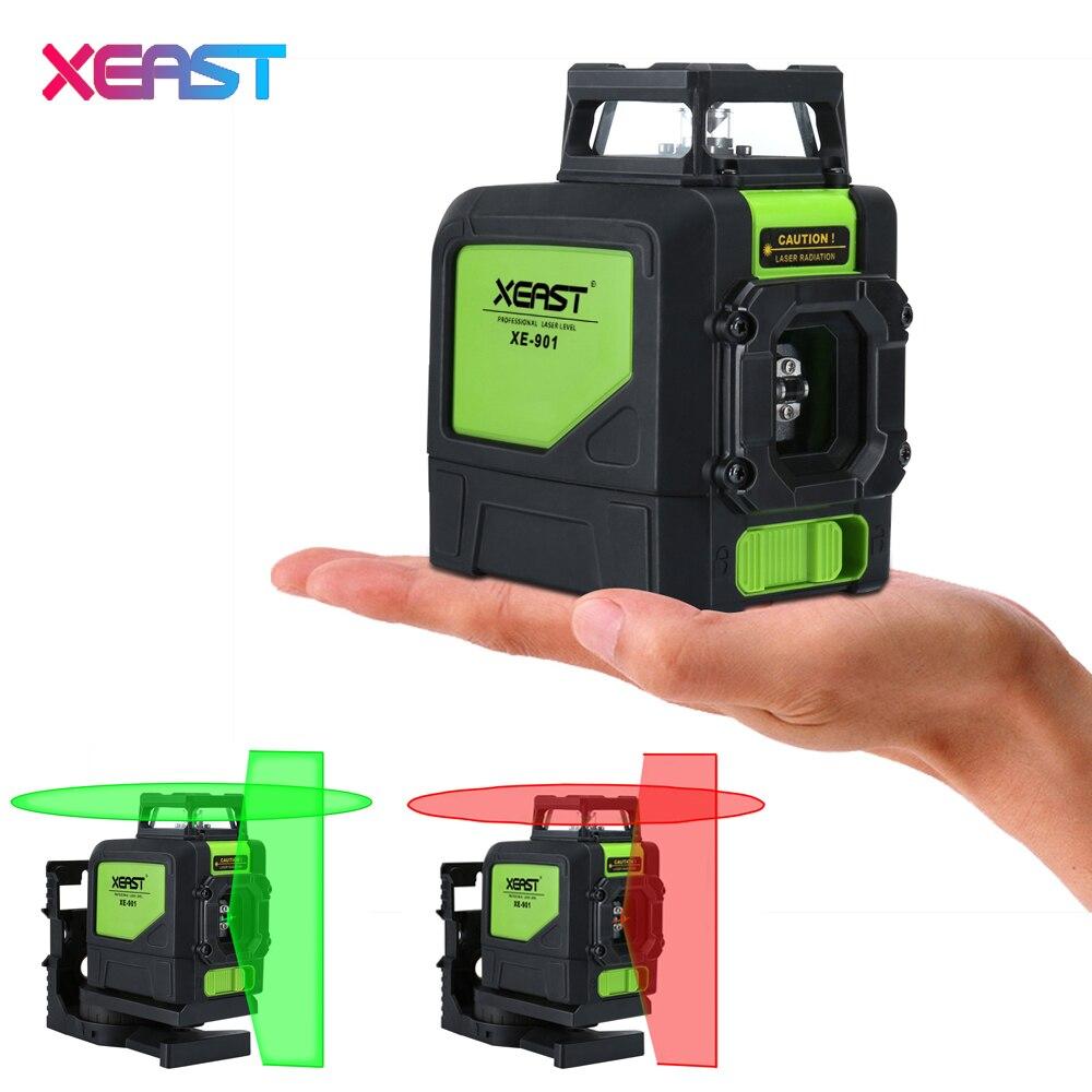 XEAST XE-901 5 Lignes 3D Vert Laser Niveaux Auto Nivellement 360 Horizontal un Vertical Croix Super Puissant Laser Vert Faisceau ligne