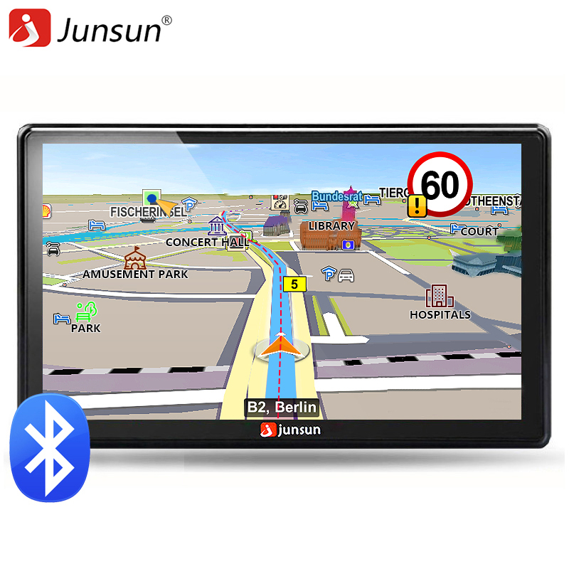 Junsun 7 inch HD Car GPS Navigation FM Bluetooth AVIN Map Free Upgrade Navitel Europe Sat nav Truck gps navigators automobile sat integral s 1221 hd stealth купить есть в наличии