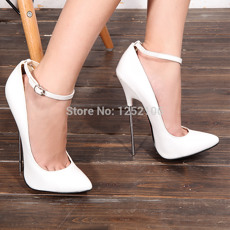 2014 new arrival WHITE PU pump EXTREME high HEEL 16CM high heel ...