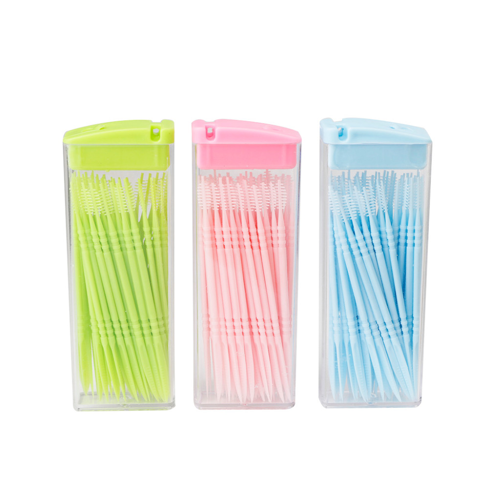 50 Pcs /Set Double-headed Dental Brush Teeth Sticks Floss Pick 6.5cm Toothpick  New #7AB0100 #