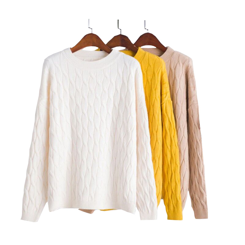 Knitted Pullover Sweater O-Neck Long-Sleeve Casual Women Flat Solid for Lady Newest