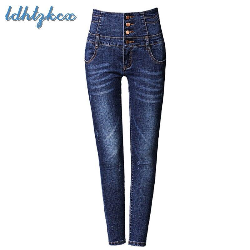 Jeans femmes noir gris grande taille taille haute Jeans 2018 automne nouvelle Europe amérique souper grande taille élasticité Denim pantalon LD59