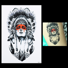 1pcs Fake Body Back Art Decal Tattoo For Women Men HB414 Sexy Product Beauty Indian Feather Girl Design Temporary Tattoo Sticker