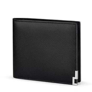 Portamonete Di Design | Uomini Breve Raccoglitore Per Le Carte Di Credito Del Cuoio Genuino Degli Uomini Portafoglio Bi-Fold Borsa Classic Orizzontale Verticale Nero Di Disegno