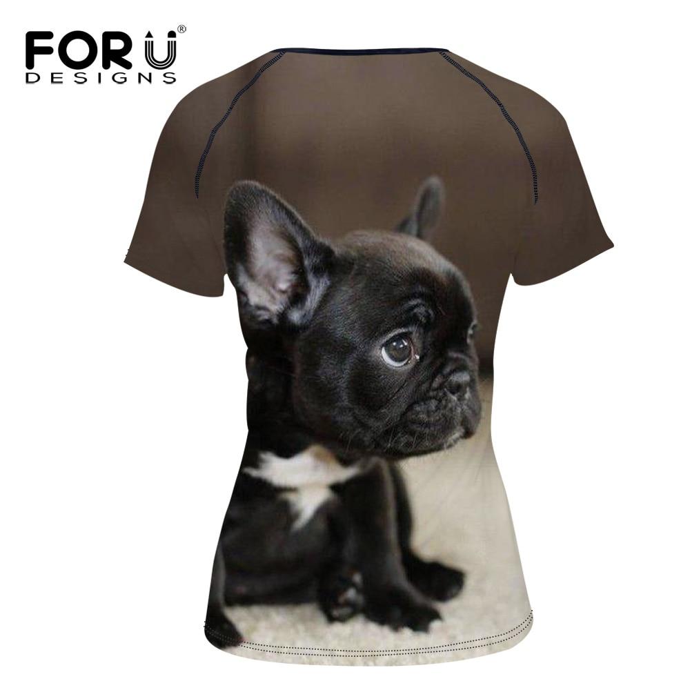 FORUDESIGNS Kawaii BullDog Cetak T Shirt Untuk Wanita Lengan Pendek - Pakaian Wanita - Foto 4