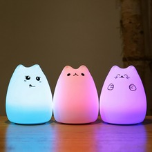 USB Rechargeable LED Colorful Night Light Kids Xmas Gift Kawaii Cat Silicone Soft Breathing Cartoon Baby Nursery Lamp for Home colorful usb rechargeable silicone lamp cat kitten led night light soft cartoon baby kids lamp xmas new year gift drop shipping