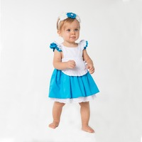 High Quality Cinderella Dresses 2016 Newest Fashion Blue White Cosplay Party Dress Ruffles With Bow Kids