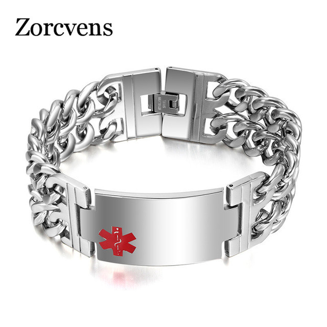 Zorcvens Wide Medical Bracelet Men Jewelry Stainless Steel Bracelets Bangles Chunky Chain For Man