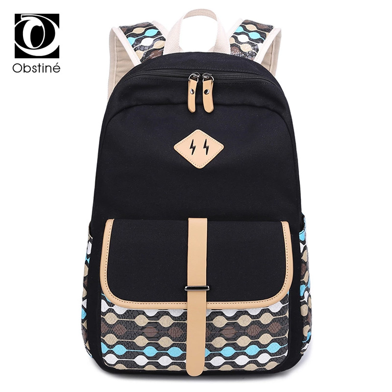 15.6 Inch Laptop Canvas Backpack Backpacks For School Teenagers Girls Bagpack Printing Travel Back Pack