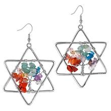 TUMBEELLUWA Tree of Life Women Drop Earrings Six-pointed Star Crystal , Natural Tumbled Stone Dangle Hook Earring Charm Jewelry
