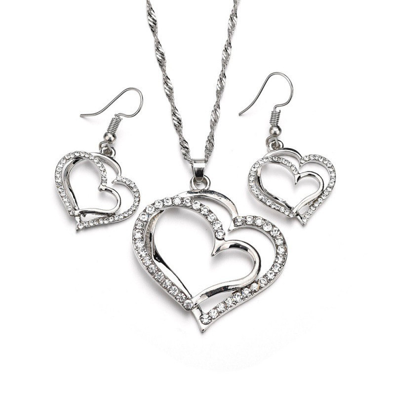 Fashion Wedding Gift Jewelry Double Heart Shape Rhinestone Earrings Necklace Set