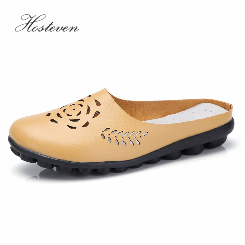 цена на Hosteven Women Shoes Soft Genuine Leather Flats Platform Fashion Casual Ladies Driving Loafers Moccasins Air Mesh Shoes