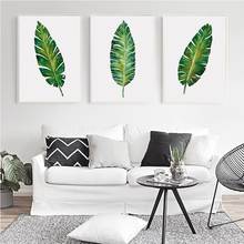 Modern Simple Watercolor Big Leaf Plant Canvas Painting Art Print Poster Picture Mural Elegant Home Decoration Frameless