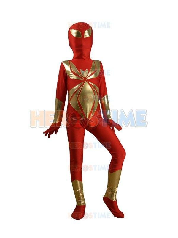 Kids red Iron Spiderman costume Spandex halloween cosplay  fullbody child spiderman superhero costumes zentai suit