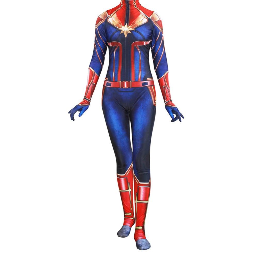 Captain Marvel Cosplay Costume Zentai Bodysuit Suit Jumpsuits Carnival Superhero Bodysuit Suit Jumpsuits For Adult Women Girls