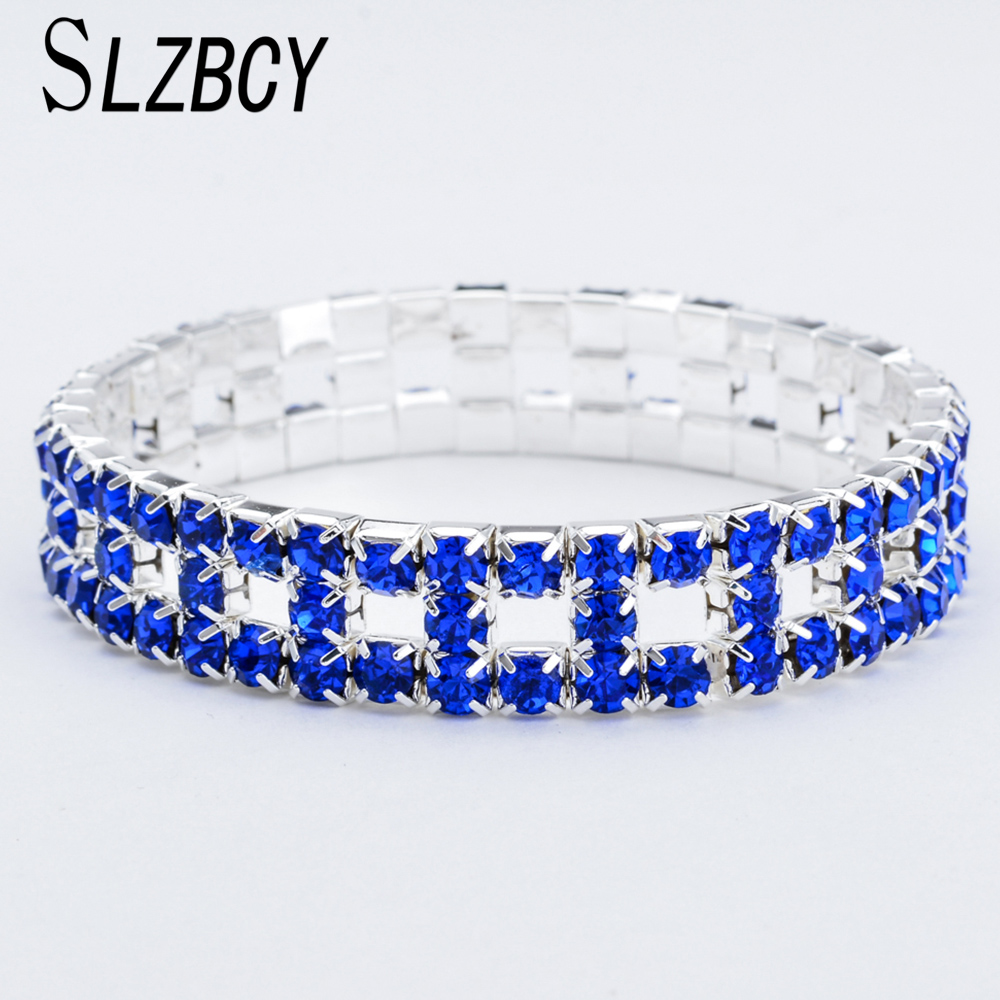 Us 1 34 40 Off Red Blue Clear Crystal Charms Elastic Bracelet Bangle For Women Bridal Wedding Jewelry Silver Color Bracelets Wristband In