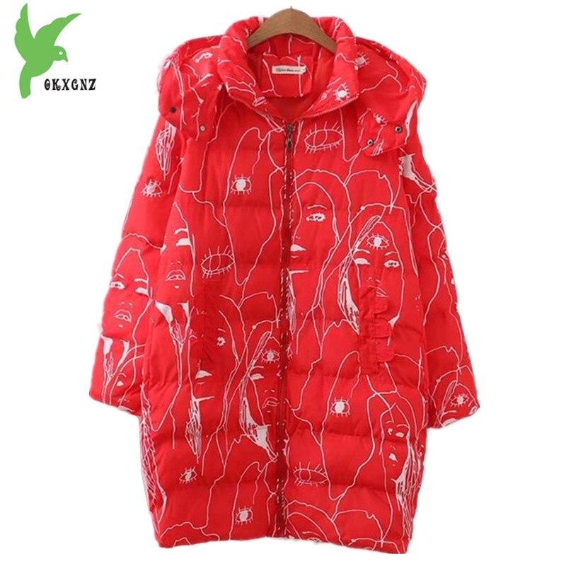 Plus Size New Women's Winter Down Cotton Jackets Fashion Abstract Print Hooded Casual Coat Fat MM Loose Medium Length OKXGNZ 856 plus size letter print hooded sweatshirt dress