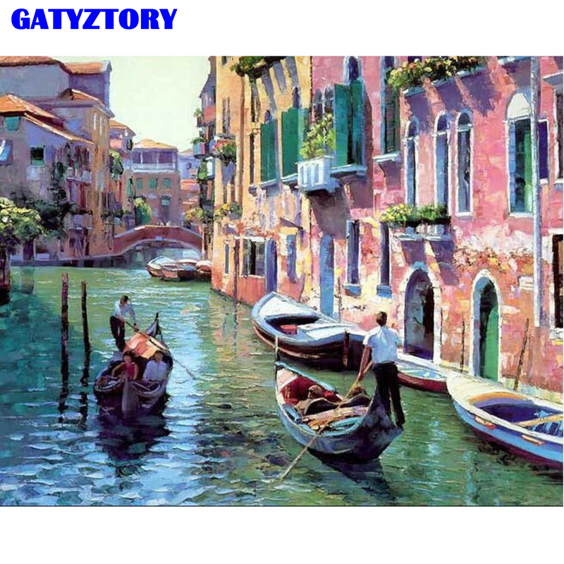 Picture Frameless Venice Seascape DIY Pittura By Numbers Modern Wall Art Canvas Pittura Disegno Home Decor 40x50cm Opere d'arte