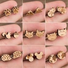 SMJEL Geometric Fox Cat Animal Earrings Women Minimalist Jewelry Small Mickey Paw Stud Birthday Gifts
